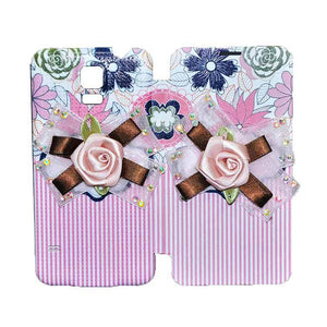 Samsung Galaxy S5 Flip Cover Fancy 3D Flower Pink Lines Fashion Design Case