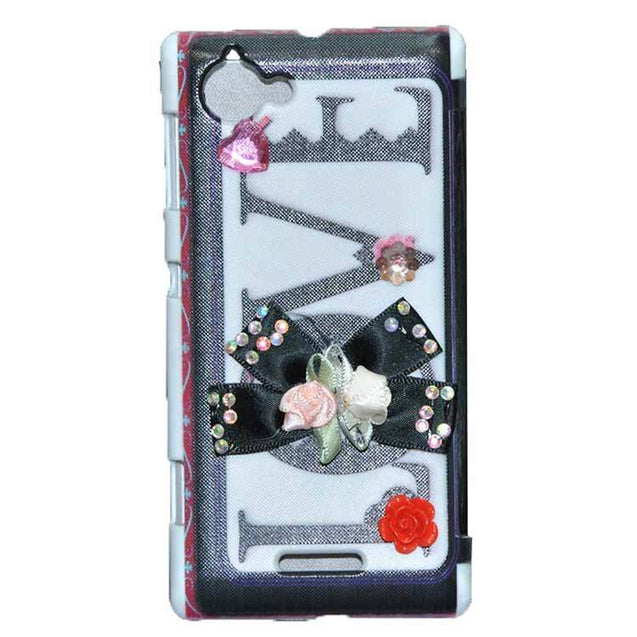 Sony Xperia L Flip Cover Fancy 3D Flower Fashion Printed Love Design Luxury Case Black