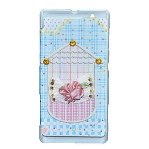 Sony Xperia L Flip Cover Fancy 3D Flower Fashion Home Design Flip Case Sky Blue