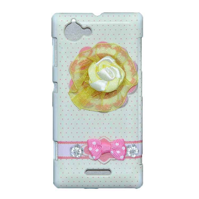 Sony Xperia L Flip Cover Fancy 3D Yellow Flower Fashion Design Luxury Flip Case