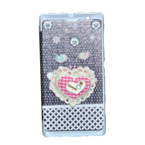 Sony Xperia L Flip Cover Fancy Flower 3D Heart Fashion Design Flip Case Black