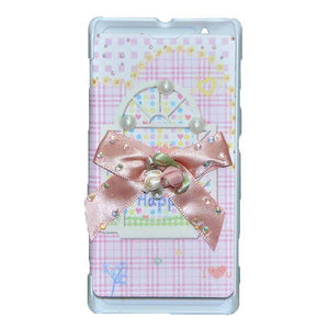 Sony Xperia L Flip Cover Fancy 3D Flower Pearl Fashion Windows Design Luxury Case Pink