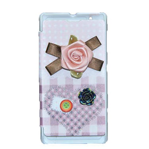 Sony Xperia L Flip Cover Fancy 3D Pink Flower with Button Fashion Design Luxury Flip Case