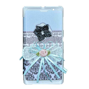 Sony Xperia L Flip Cover Ethnic 3D Flower Fashion Design Flip Case Sky Blue