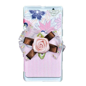 Sony Xperia L Flip Cover Fancy 3D Flower Pink Lines Fashion Design Luxury Case