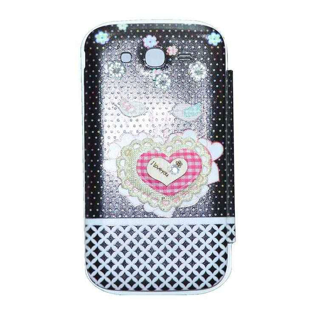 Samsung Galaxy Grand Flip Cover Fancy Flower 3D Heart Fashion Design Flip Case Black