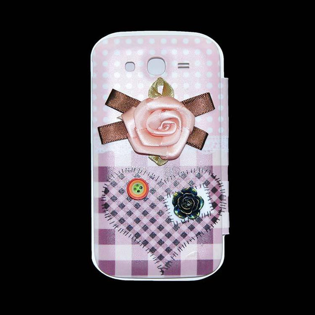 Samsung Galaxy Grand Flip Cover Fancy 3D Pink Flower Button Fashion Design Flip Case