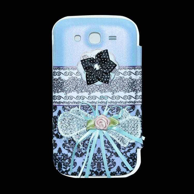 Samsung Galaxy Grand Flip Cover Fancy 3D Flower Ethinic Printed Design Case Sky Blue