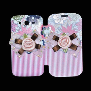 Samsung Galaxy Grand Flip Cover Fancy 3D Flower Pink Lines Fashion Design Luxury Case