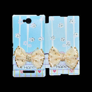 Sony Xperia C Flip Cover Fancy 3D Butterfly Fashion Happy Design Luxury Case Sky Blue