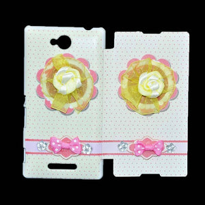 Sony Xperia C Flip Cover Fancy 3D Yellow Flower Fashion Design Luxury Flip Case