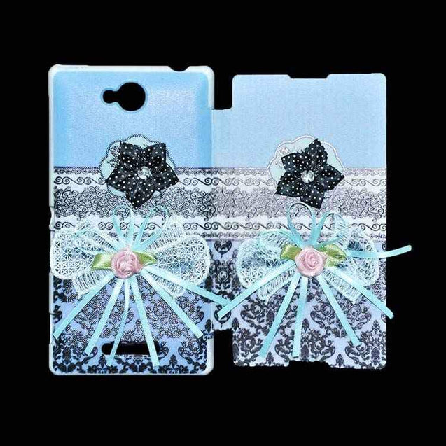 Sony Xperia C Flip Cover Ethnic 3D Flower Fashion Design Flip Case Sky Blue