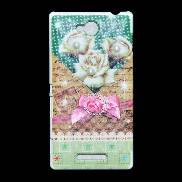 Sony Xperia C Flip Cover Fancy 3D Flower Pearl Fashion Design Luxury Case White Rose