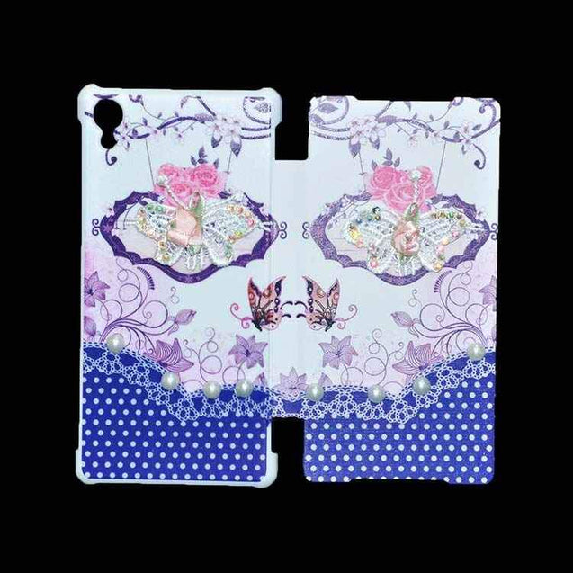 Sony Xperia Z2 Flip Cover Fancy 3D Butterfly Pearl Fashion Design Flip Case Blue