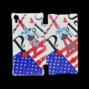 Sony Xperia Z2 Flip Cover Fancy 3D Flower Fashion Printed Paris Design Case.