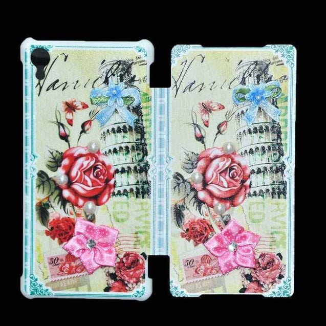 Sony Xperia Z2 Flip Cover Fancy 3D Rose Flower Pearl Fashion Design Case Green
