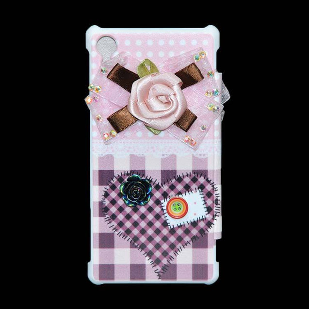 Sony Xperia Z2 Flip Cover Fancy 3D Pink Flower with Button Fashion Design Luxury Flip Case.