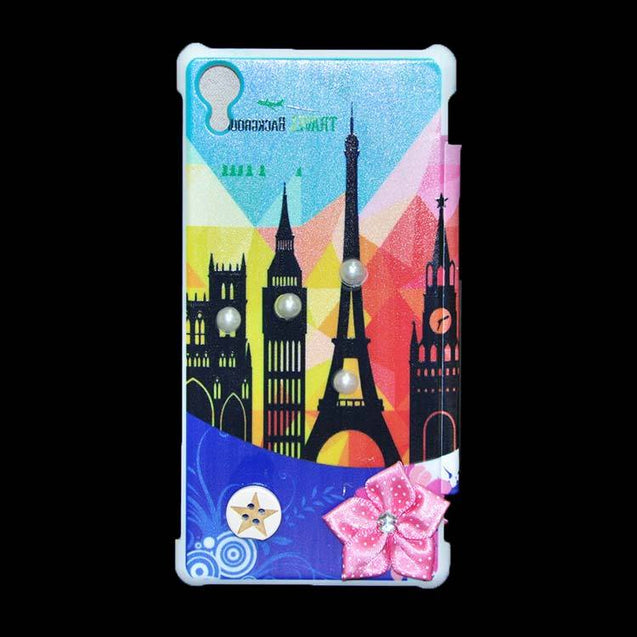 Sony Xperia Z2 Flip Cover Fancy Tower Printed 3D Flower Fashion Design Luxury Case