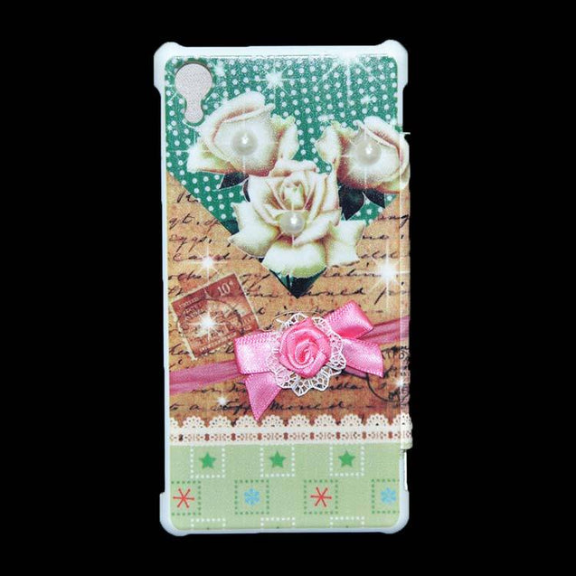 Sony Xperia Z2 Flip Cover Fancy 3D Flower Pearl Fashion Design Luxury Case White Rose.
