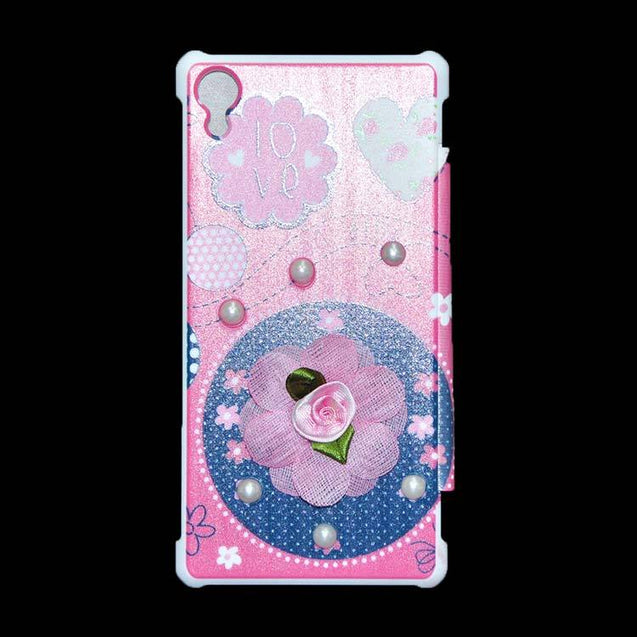 Sony Xperia Z2 Flip Cover Fancy 3D Flower Pearl Fashion Design Luxury Case Pink Rose
