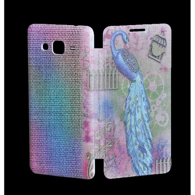 Samsung Galaxy Grand Prime Flip Cover Printed Peacock Design Flip Case