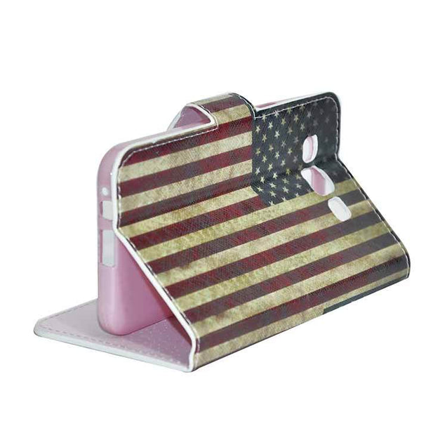 Samsung Galaxy E5 Flip Flap Cover With American Flag Designed Flip Case