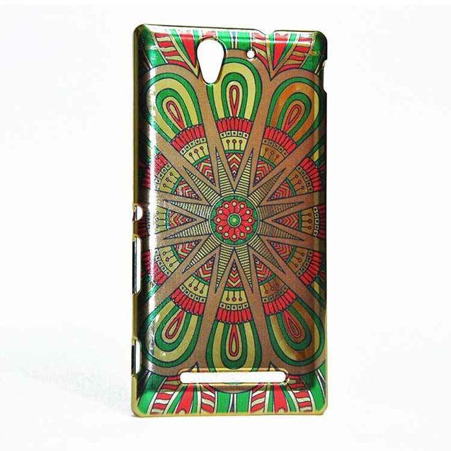 Sony Xperia C3 Back Cover Ethnic Design Printed Shiny Hard Case Green