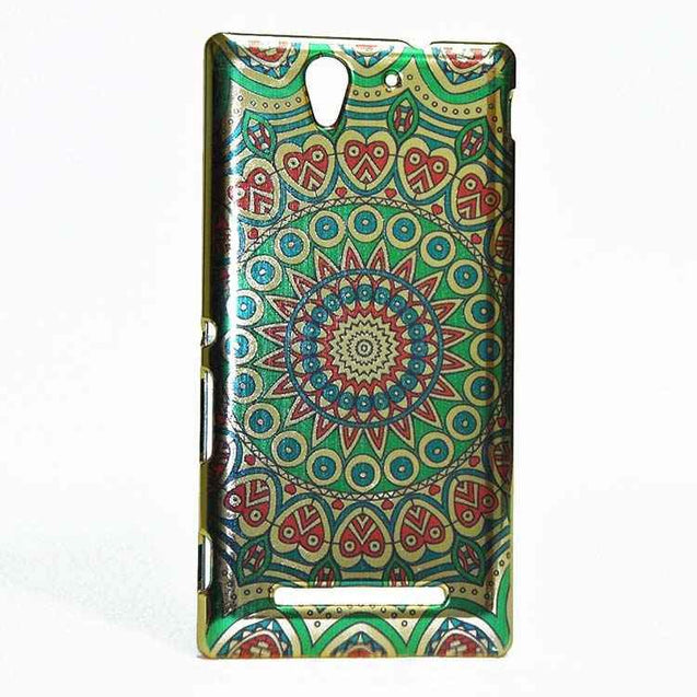 Sony Xperia C3 Back Cover Ethnic Printed Design Shiny Hard Case Multi Color