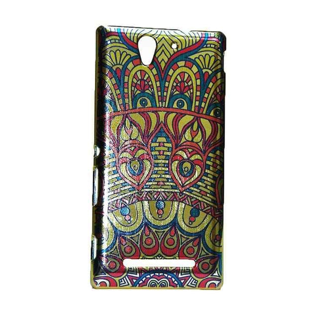 Sony Xperia C3 Back Cover Ethnic Printed  Shiny Design Hard Case (Multi Color)
