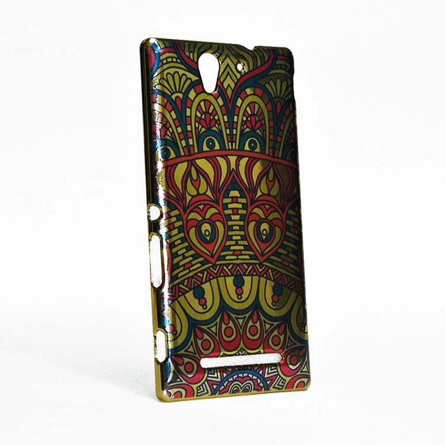 Sony Xperia C3 Back Cover Ethnic Printed Design Shiny Hard Case Multi Color.