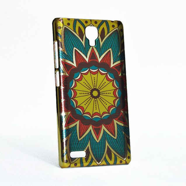 Xiaomi Redmi Note 4G / Redmi Note Back Cover Ethnic Sun Flower Printed Shiny Hard Case Multi Color