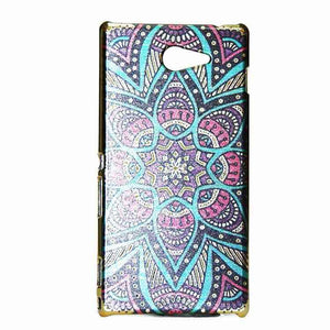 Sony Xperia M2 Back Cover Ethnic Design Hard Back Case Eight Leaf