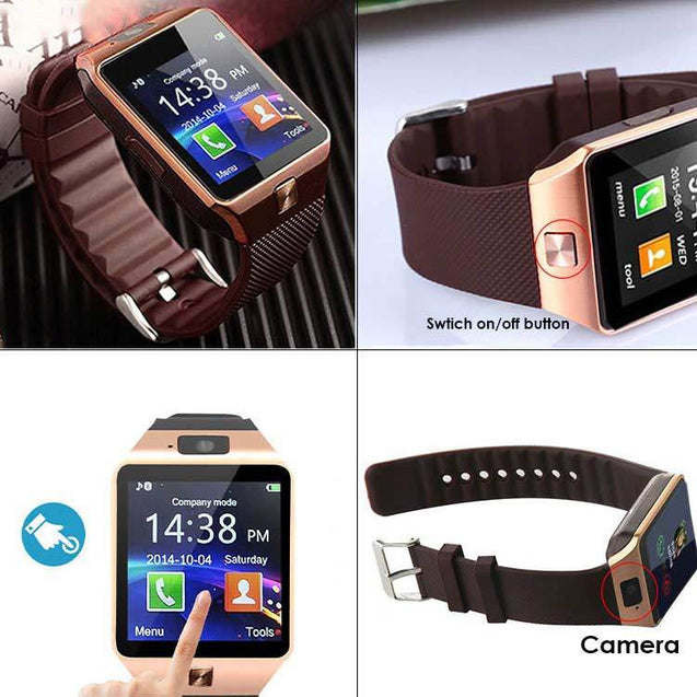 PTron Tronite Bluetooth Smartwatch Support with Camera Wrist Watch for Mobile Smartphones (Bronze)
