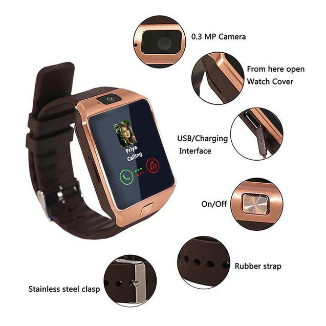 PTron Tronite Bluetooth Smartwatch With Phone Support Camera For Xiaomi Mi Max 2 (Bronze)