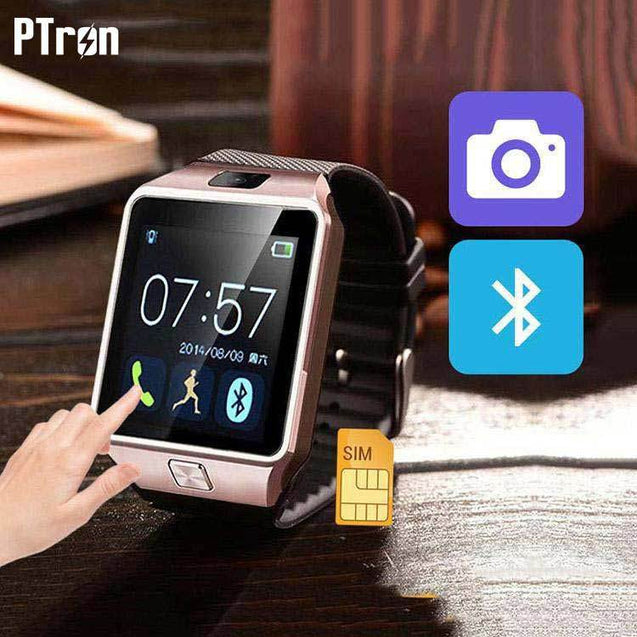 PTron Tronite Bluetooth Smart Watch with Camera For Samsung Galaxy Grand 2 Smartphones (Bronze)