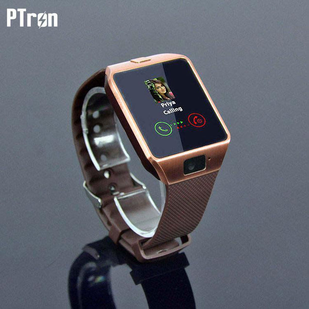 PTron Tronite Bluetooth Smartwatch Support with Camera For Apple iPad 2 3 4 Smartphones Bronze