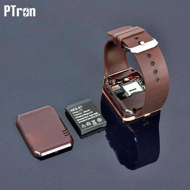 PTron Tronite Bluetooth Smartwatch with Camera For iPhone 6Plus 6sPlus Smartphones (Bronze)