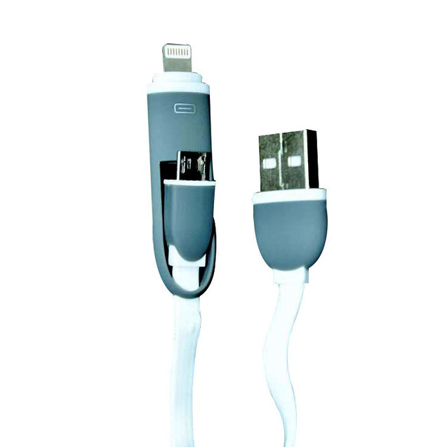 USB Data Sync Charging Cable 2in1 For Apple Samsung Nokia Smartphone White