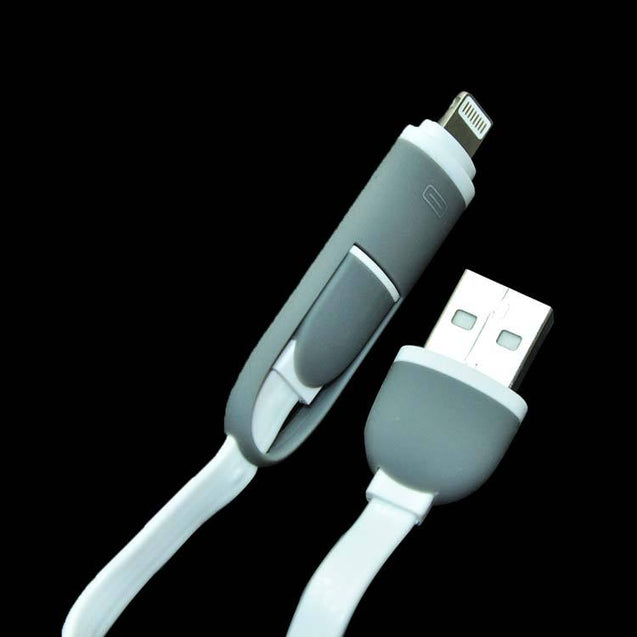 USB Data Sync Charging Noodle Cable 2 in 1 For Samsung Galaxy j7 Max (White)