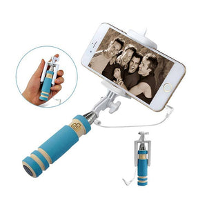 Universal Selfie Stick Monopod Foldable Mini 3 5 mm Wired Smartphone Selfie Stick Sky Blue