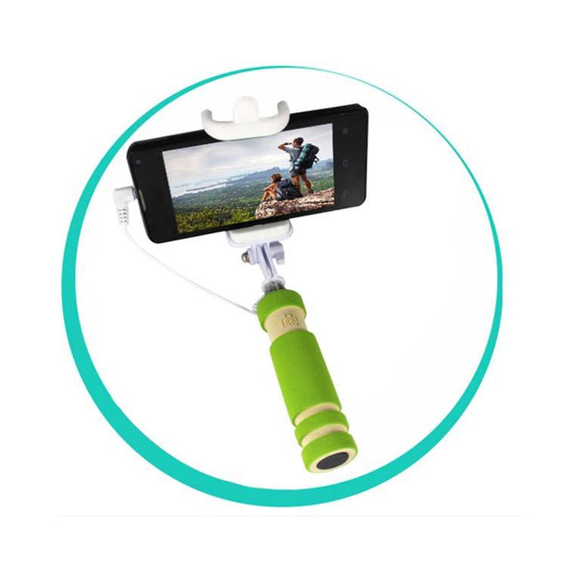 Universal Selfie Stick Monopod Foldable Mini 3 5 mm Wired Smartphone Selfie Stick Green