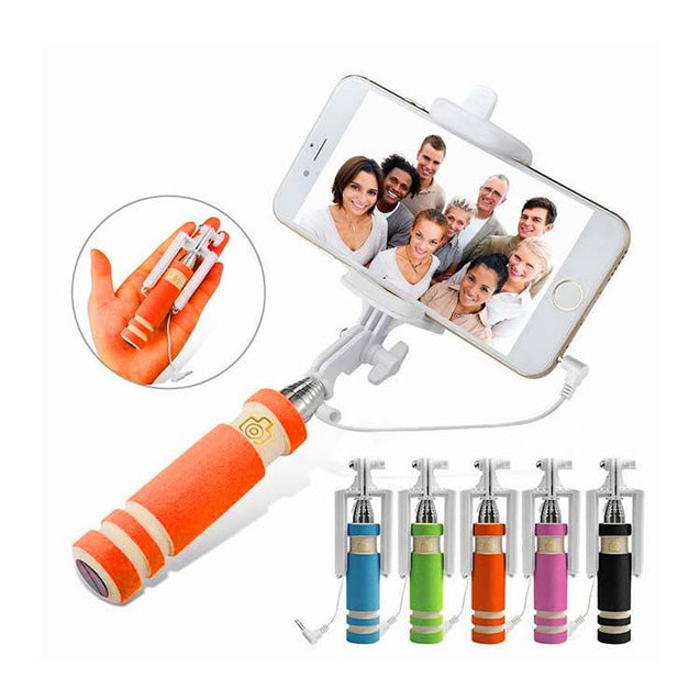 Universal Selfie Stick Monopod Foldable Mini 3 5 mm Wired Smartphone Selfie Stick Orange
