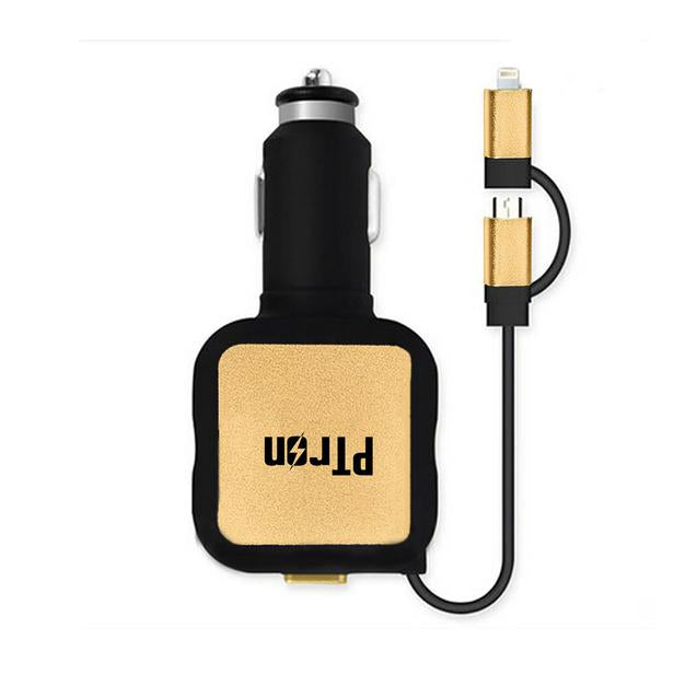 Buy PTron Dynamite Dual USB Car Charger, Get Falcon Pro 2.1A Lighting USB Charging Cable Free