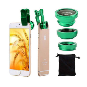 Universal Clip Lens Camera Wide Angle Fish Eye Lens For iPhone Samsung Other Smartphones Green