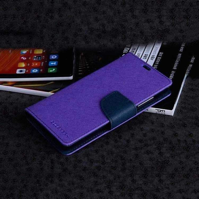 Xiaomi Redmi 2 Flip Cover Mercury Wallet Case Purple With Blue