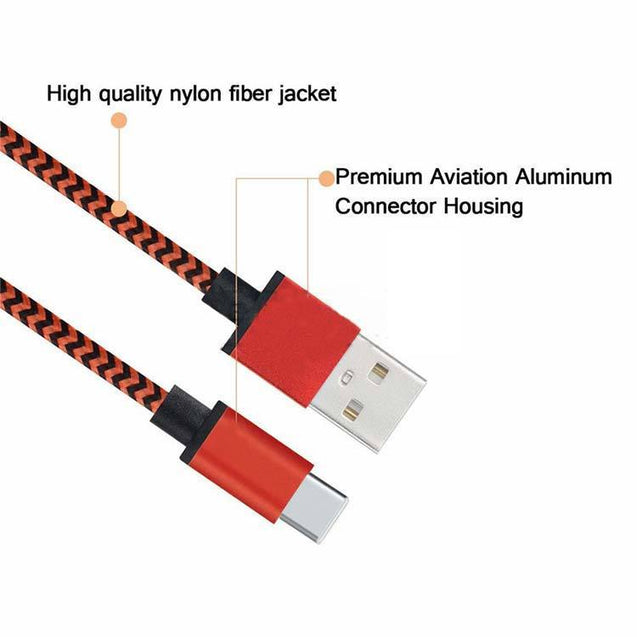 Universal 2 1A USB Weave Lightning Data Cable Charger Compatible for All Android SmartPhones Red