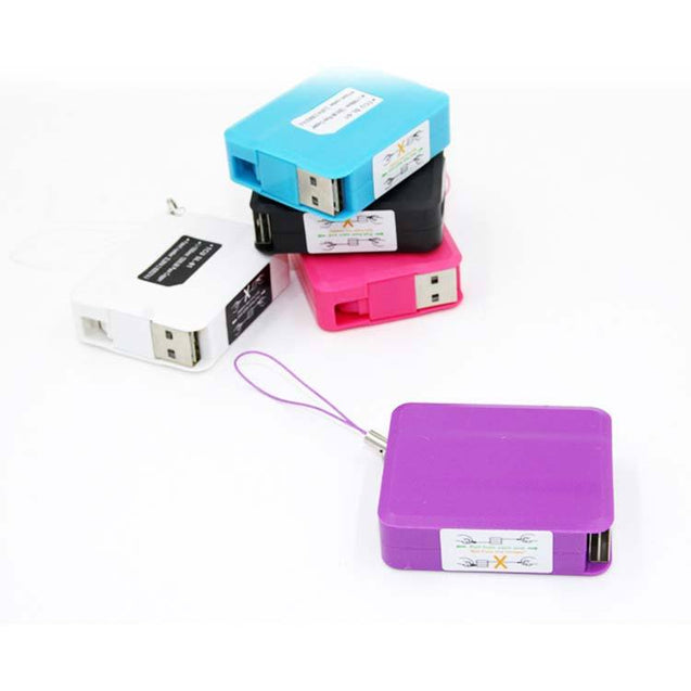 Retractable Square USB Sync Data Cable For All Android Smartphones Purple
