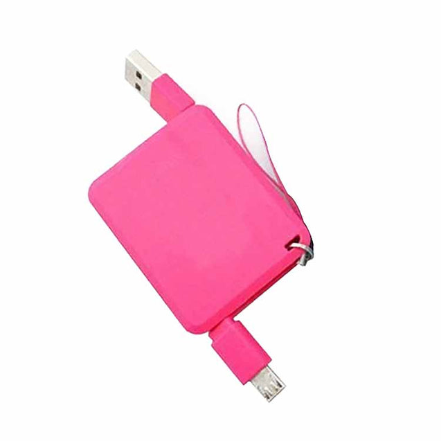 Retractable Square USB Sync Data Cable For All Android Smartphones Pink
