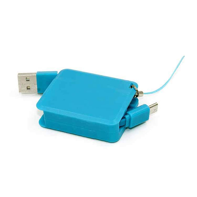 Retractable Square USB Sync Data Charger Cable For All Android Smartphones Sky Blue