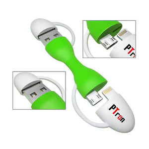 PTron USB Raja Multifunction Data Charging cable for All Smartphones (White/Green)